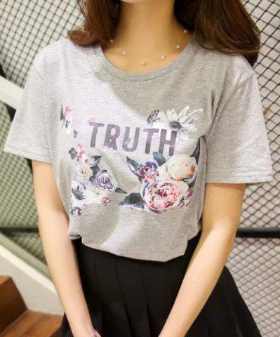 Discount Simple Round Neck Flower and Letter Print Short Sleeve T-Shirt For Women