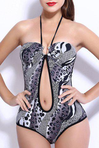 Sale Sexy Halter Push Up Hollow Out Leopard Print Underwire Swimwear For Women