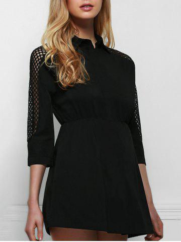 Fancy Stylish Shirt Collar Long Sleeve Hollow Out Solid Color Dress For Women
