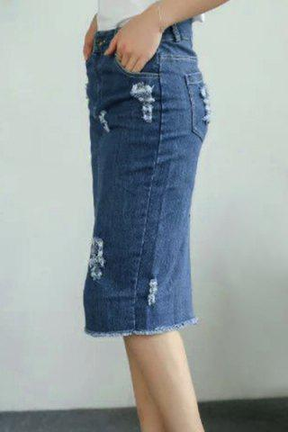 Affordable High Waist Distressed Denim Skirt