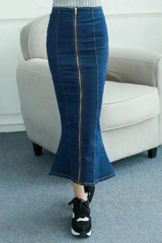 High Waisted Zipper Design Fishtail Denim Maxi Skirt - Deep Blue - S