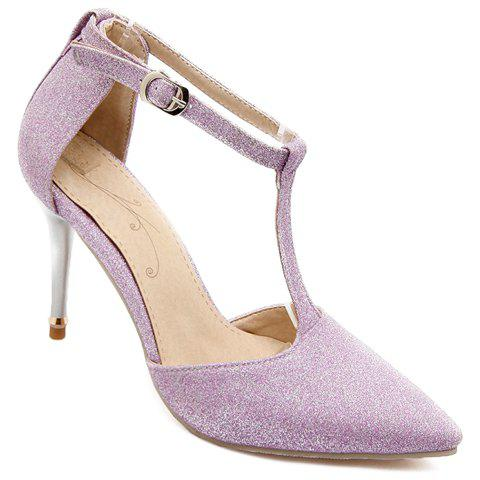 Fashion Elegant Pointed Toe and T-Strap Design Pumps For Women LIGHT PURPLE 34
