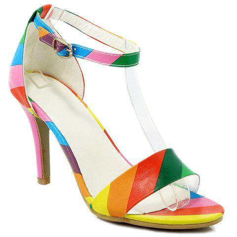 Sale Trendy Iridescent Color and Stiletto Heel Design Sandals For Women - 34 COLORMIX Mobile