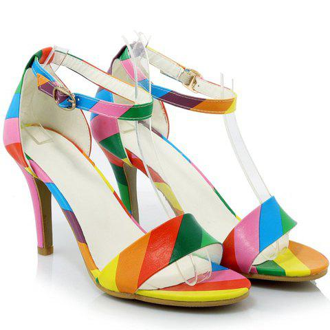 Affordable Trendy Iridescent Color and Stiletto Heel Design Sandals For Women - 37 COLORMIX Mobile