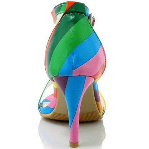 Store Trendy Iridescent Color and Stiletto Heel Design Sandals For Women - 37 COLORMIX Mobile