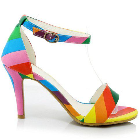 New Trendy Iridescent Color and Stiletto Heel Design Sandals For Women - 37 COLORMIX Mobile