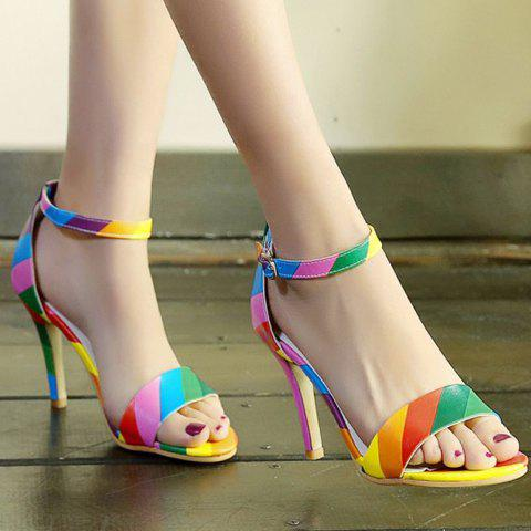 Cheap Trendy Iridescent Color and Stiletto Heel Design Sandals For Women - 37 COLORMIX Mobile