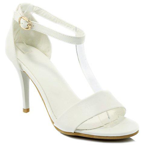 Store Graceful Stiletto Heel and Solid Color Design Sandals For Women - 38 WHITE Mobile