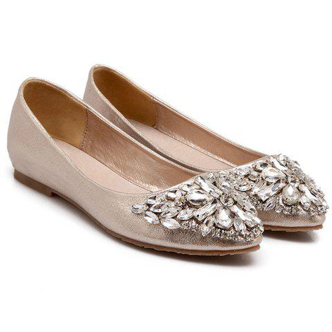 Affordable Casual Solid Colour and Rhinestones Design Flat Shoes For Women - 38 GOLDEN Mobile