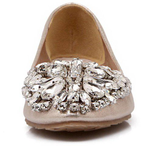 Shops Casual Solid Colour and Rhinestones Design Flat Shoes For Women - 37 GOLDEN Mobile