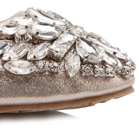 Online Casual Solid Colour and Rhinestones Design Flat Shoes For Women - 37 GOLDEN Mobile