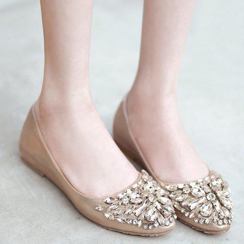Affordable Casual Solid Colour and Rhinestones Design Flat Shoes For Women - 37 GOLDEN Mobile