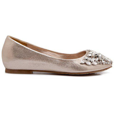 Fashion Casual Solid Colour and Rhinestones Design Flat Shoes For Women - 37 GOLDEN Mobile