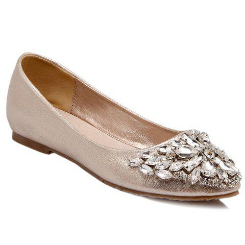 Affordable Casual Solid Colour and Rhinestones Design Flat Shoes For Women - 39 GOLDEN Mobile