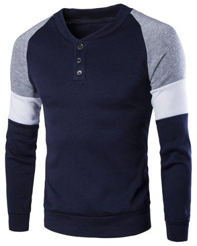 Fancy Round Neck Buttons Embellished Color Block Splicing Long Sleeve Sweatshirt For Men