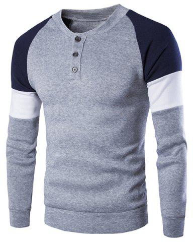 Hot Round Neck Buttons Embellished Color Block Splicing Long Sleeve Sweatshirt For Men - XL GRAY Mobile