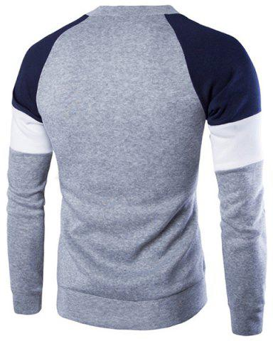 Fashion Round Neck Buttons Embellished Color Block Splicing Long Sleeve Sweatshirt For Men - XL GRAY Mobile