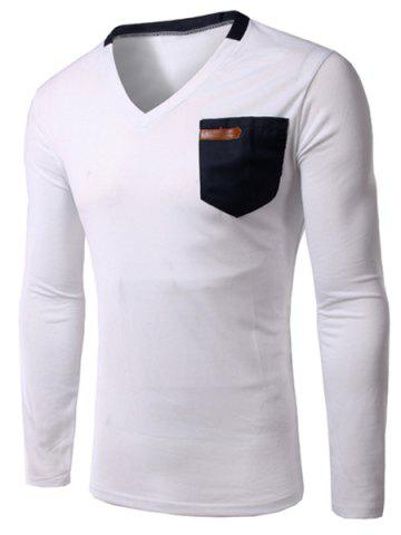 Trendy Slimming V-Neck Single Pocket Long Sleeves T-Shirt For Men - 2XL MILK WHITE Mobile