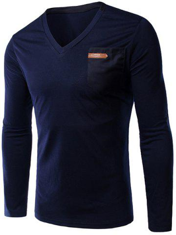 Fancy Slimming V-Neck Single Pocket Long Sleeves T-Shirt For Men - L DEEP BLUE Mobile