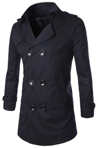 Buy Turn-Down Collar Epaulet Design Double-Breasted Long Sleeve Trench Coat Men - Black L