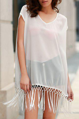 Sale Fashionable Scoop Neck Solid Color Fringe Short Sleeve Cover-Up For Women