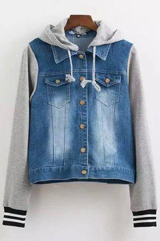 Online Stylish Long Sleeve Casual Hooded Denim Splicing Women's Coat