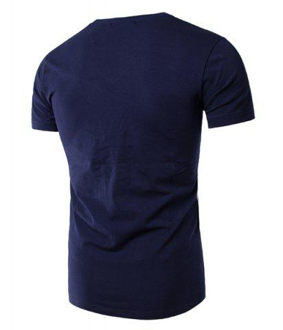 Fashion Slimming Splicing V-Neck Short Sleeves T-Shirt For Men - XL DEEP BLUE Mobile
