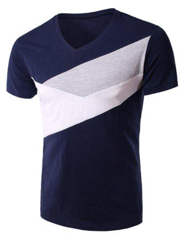 Hot Slimming Splicing V-Neck Short Sleeves T-Shirt For Men - XL DEEP BLUE Mobile