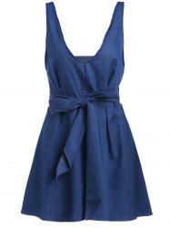 Sleeveless Halter Open Back Lace Up Denim Skater Dress - ROYAL BLUE