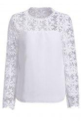 Stylish Scoop Neck Long Sleeve Crochet Flower Spliced Women's Blouse - WHITE