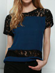 Stylish Round Neck Short Sleeve Hollow Out Lace Spliced Blouse For Women