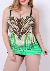 Women's Stylish Colorful Print Push Up Plus Size One Piece Swimwear -
