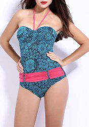 Women's  Flower Print Halter Bandeau One Piece Swimwear