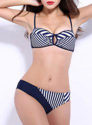 Sexy Spaghetti Strap Striped Push Up Bikini For Women