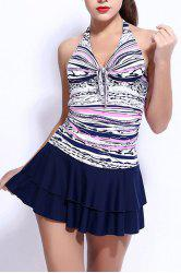 Halter Layered Skirted Swimwear