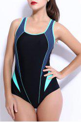 Trendy Color Block Backless One-Piece Racerback Swimwear For Women