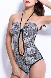 Vintage Style Halter Push Up Hollow Out Floral Swimwear For Women