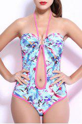 Sexy Halter Push Up Hollow Out Floral Underwire Swimwear For Women -