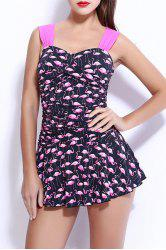 Sweetheart Neck Birds Print Skirted One Piece Swimwear For Women
