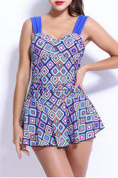 Sweetheart Neck Geometric Skirted One Piece Swimwear For Women