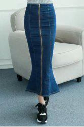 High Waisted Zipper Design Fishtail Denim Maxi Skirt