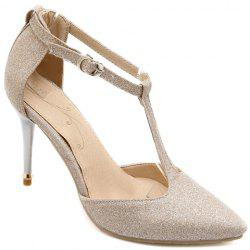 Elegant Pointed Toe and T-Strap Design Pumps For Women - CHAMPAGNE