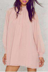 Sexy Stand Collar Puff Sleeve See-Through Dress For Women -