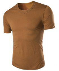 Round Neck Slimming Simple Short Sleeve T-Shirt For Men - EARTHY M