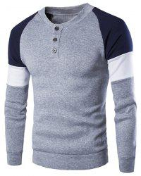 Round Neck Buttons Embellished Color Block Splicing Long Sleeve Sweatshirt For Men