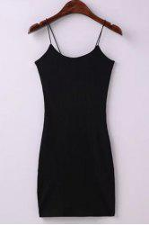 Skinny Ribbed Cami Mini Dress - BLACK