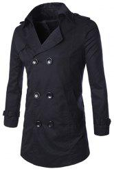 Turn-Down Collar Epaulet Design Double-Breasted Long Sleeve Trench Coat For Men - BLACK