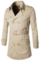 Turn-Down Collar Epaulet Design Double-Breasted Long Sleeve Trench Coat For Men