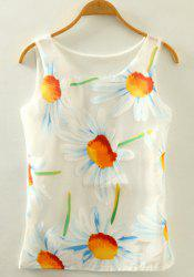 Refreshing Scoop Neck Daisy Print Tank Top For Women -