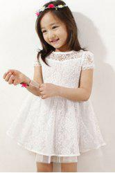 Cute Short Sleeve Pure Color Lace Mini Dress For Girl